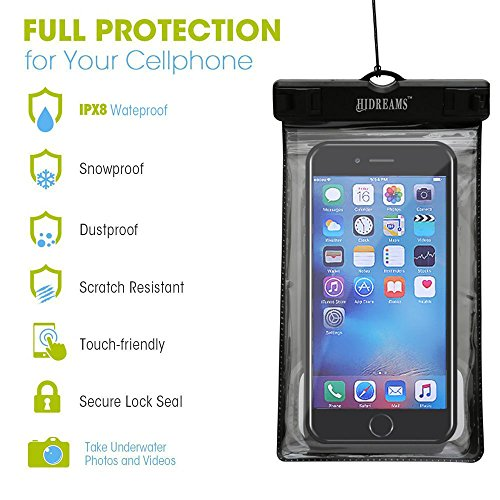 Hidreams Waterproof Phone Case Universal Cell Phone Dry Bag Pouch with Armband and Neck Strap for iPhone 7 Plus,6S Plus,7,6S,6,5S,Samsung Galaxy S6,Note 5 4,HTC,Sony Nokia Motorola