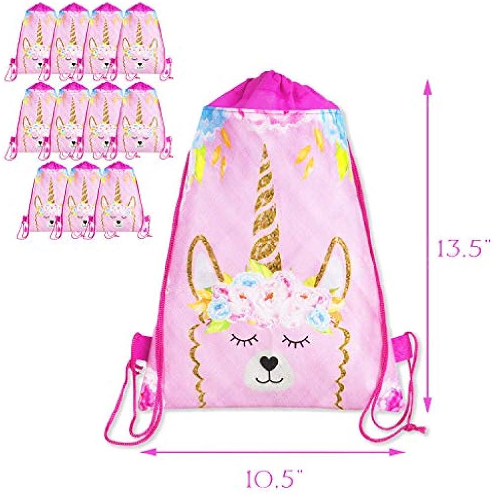 ShameOnJane Llama Unicorn Party Favor Bag Gift Bags for Kids Drawstring 12