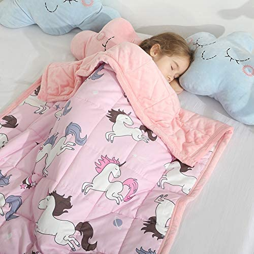 Haowaner Minky Kids Weighted Blanket 5lbs 36 x 48 inches, Soft Kids and Toddler Comforter Great for Calming and Sleeping, Child Bed Size, Pink Unicorn
