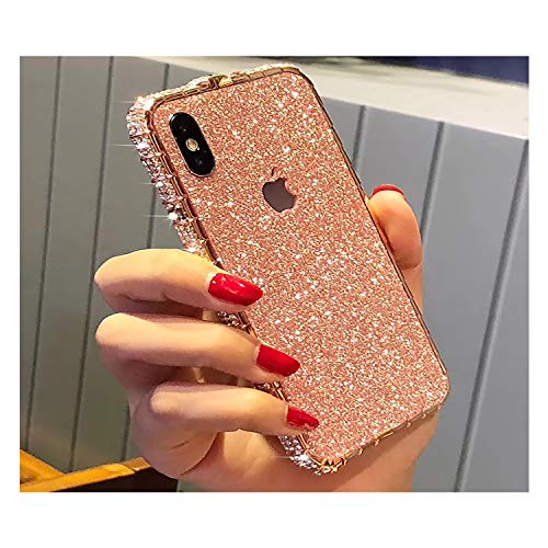 Bling Diamond Metal Bumper Case Glitter Sticker For iPhone 8 Plus 3d Bling Glitter Sparkly Luxury Rhinestone Jeweled Edge Frame For Woman Girls - Rose Gold (Iphone 3 Jeweled Case)