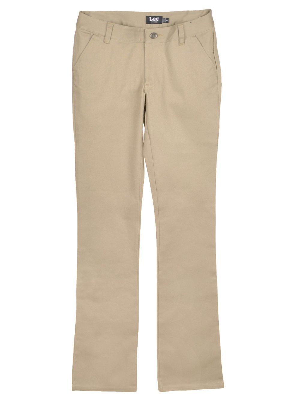 Lee Uniforms Juniors Curvey Straight Leg Pant, Khaki, 11