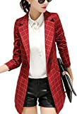 Enlishop Women's Vintage Check Plaid Long Sleeve Casual Work Office Jacket Blazer Red