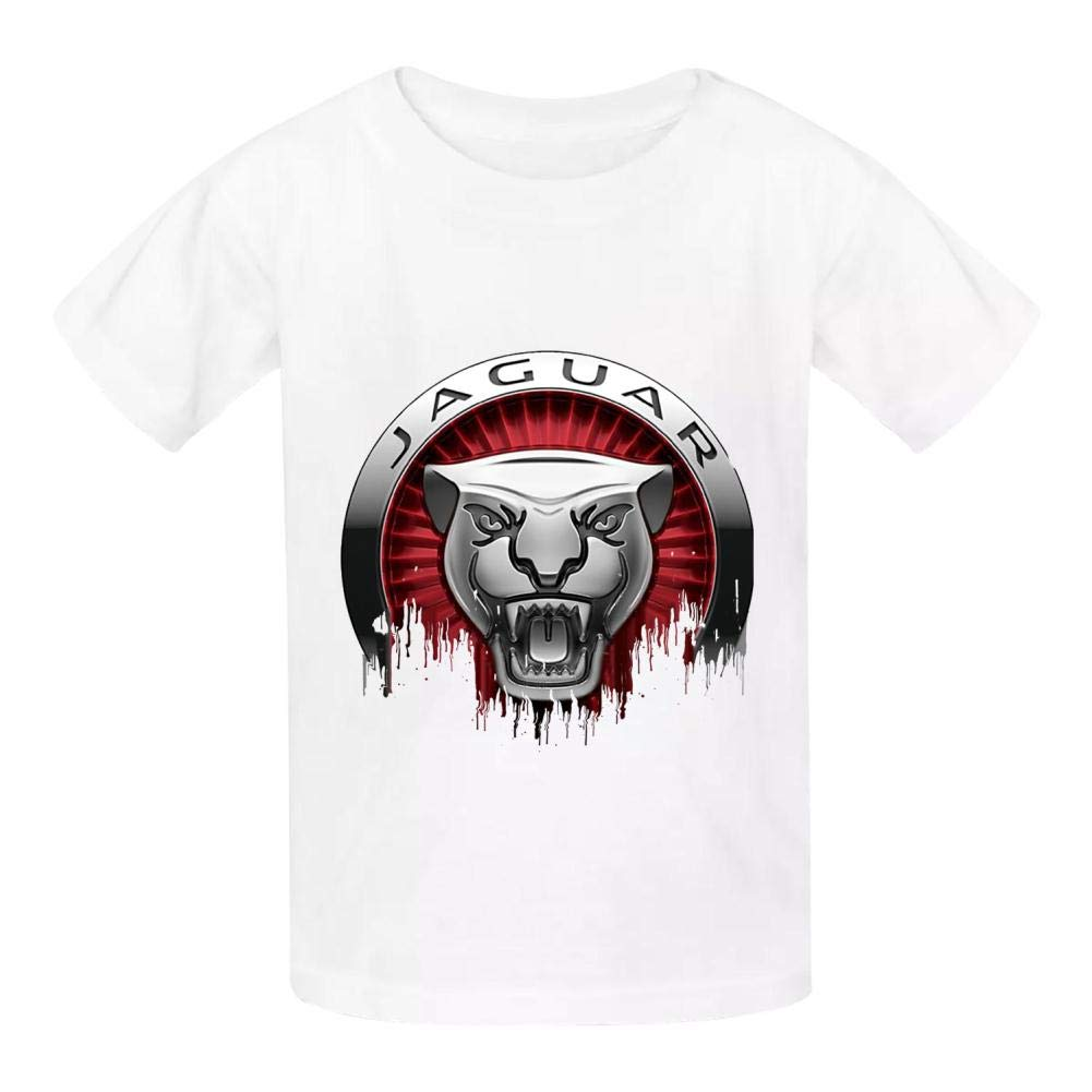 Boini Jaguar Car Logo Basic Daily Wear Cotton Graphic T Shirts for Girls and Boys