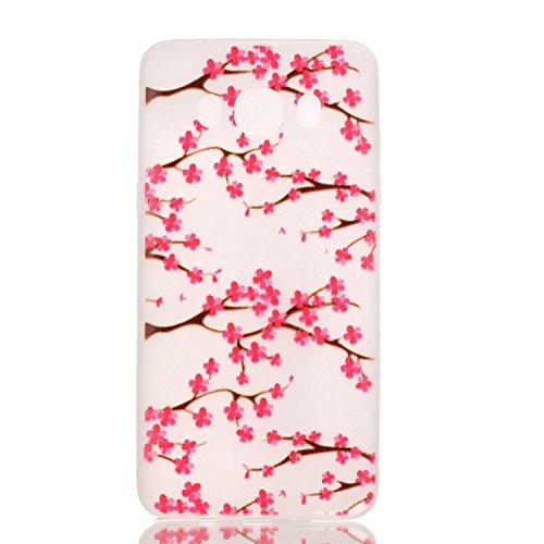 [Extremadamente Delgada] Funda 3D Silicona Transparent para Samsung Galaxy J5 (2016) J510 , Funda TPU Ultra Slim para Samsung Galaxy J5 (2016) J510 , TOCASO Case Fina Slim Fit Cristal Clear, Noctiluce la Flor del Ciruelo