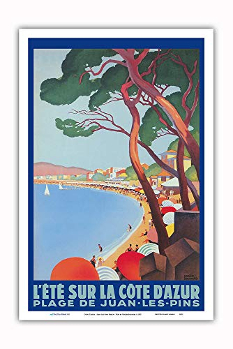 Pacifica Island Art - Cote D'Azur - Juan Les Pins Beach - PLM French Railroad - Vintage Railroad Travel Poster by Roger Broders c.1927 - Master Art Print - 12in x 18in