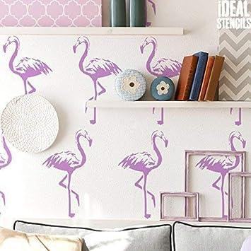 Flamingos Home Dekorieren au/ßenschablone halb geschliffen Durchsichtig Schablone Farbe W/ände Stoffe /& M/öbel Flamingo Muster Dekor Kunst bastelarbeiten ideal Stencils LTD S//14X25CM