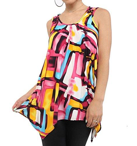 21fashion negro m Mujer mangas en Talla con color Camisa estampado sin 8qTdxTvwa