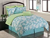 Sunset and Vine Marigold 8-Piece Queen Comforter Set, Blue/Green