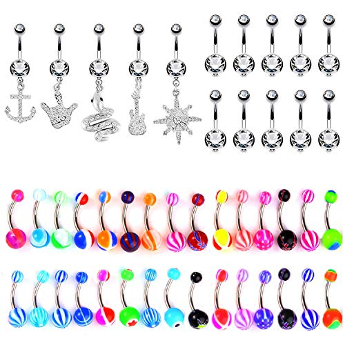 BodyJ4You 65 Belly Button Rings Dangle Barbells 14G Acrylic Clear CZ Crystals Navel Body Jewelry