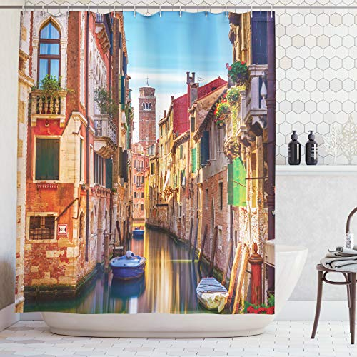 (Ambesonne European Cityscape Decor Shower Curtain Set, Venice Cityscape Narrow Water Canal Building Traditional Old Buildings Heritage, Bathroom Accessories, 69W X 70L Inches, Orange Blue)