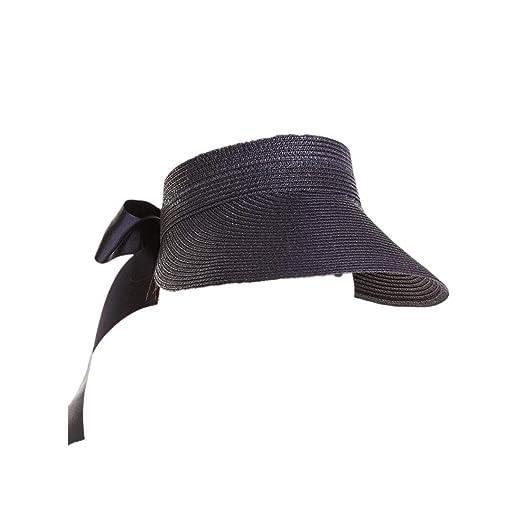 Dwevkeful Gorra Visera Plana Mujer,Sombrero de Cáñamo Gorros de Playa Aire Libre Decoración Cinta De Seda Moda Casual Gran ala Turismo Playa Pescar ...