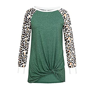 Miskely Women's Leopard Print Long Sleeve Tops Shirt Twist Knot Front Casual Tunic Blouses Color Block T Shirt: Clothing