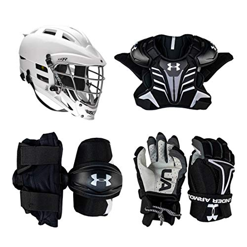 Under Armour Strategy Youth Lacrosse Starter Set 4-Piece (Cascade CS-R Helmet) - No Stick (Youth Medium)