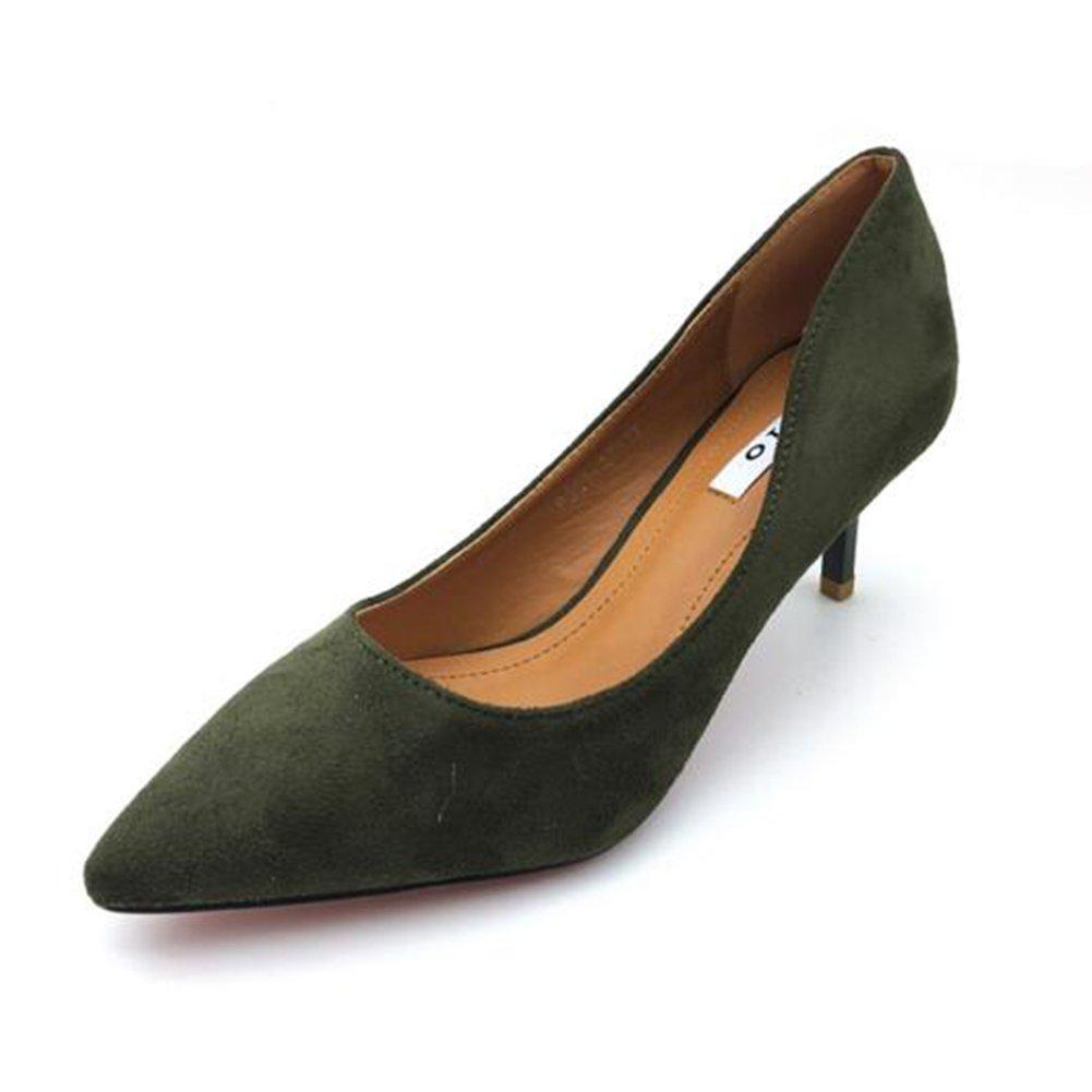 YIXINY Zapatos de tacón Zapatos de tacón alto salvajes de OL de las mujeres de los altos talones de la aguja del estilete de la fiesta del partido señalado ( Color : Verde , Tamaño : EU36/UK3.5/CN35 ) EU36/UK3.5/CN35