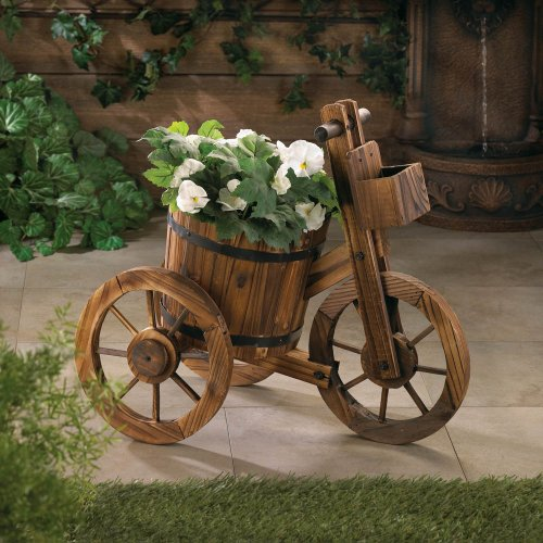 Garden Planters Home Indoor Outdoor Wooden Bicycle Ornament Flower Plant Holder Box Decorative Stand Patio Decor (Rain Wooden Barrel)