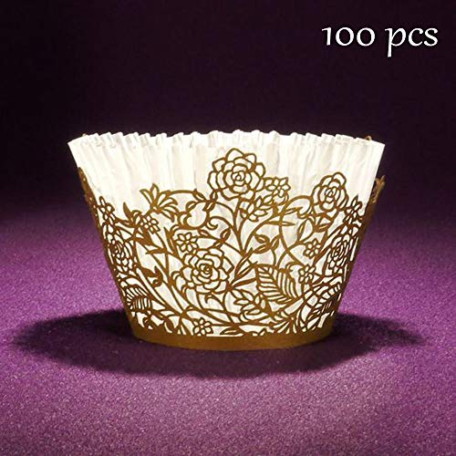 Cupcake Wrappers 100pcs Gold Rose Lace Hollow Cupcake Liners Bake Cake Paper Cups for Wedding Party Birthday Cake Decoration Supplies (Cup Of Gold Flower)