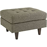 Modway Empress Mid-Century Modern Upholstered Fabric Ottoman In Oatmeal
