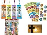 BizzyBecca Spanish Christian Party Favors - (24 Sets) - Spanish Jesus Loves Me Stickers, Spanish Jesus Loves Me Pencils, Spanish Jesus Loves Me Bookmarks and Bonus Wallet Card