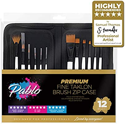 Daler Rowney Oils White Bristle Brush Zip Case 10 x Art Paint Brushes /& Wallet