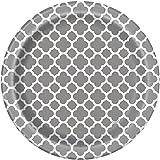 Silver Quatrefoil Paper Cake Plates, 8ct