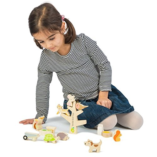 Kids 18 Develops Strategic Thinking /& Fine Motor Skills STEM Toy Months Stacking Garden Friends 14 Piece Wooden Stacking and Balancing Toy /& Educational Game WITH FREE TRAVEL BAG Early Learning