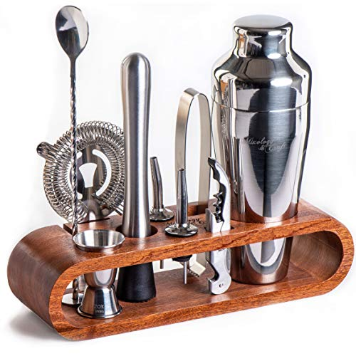 Mixology Bartender Kit: 10-Piece Bar Tool Set with Stylish Mahogany Stand - Perfect Home Bartending Kit and Martini Cocktail Shaker Set For an Awesome Drink Mixing Experience - Exclusive Recipes -
