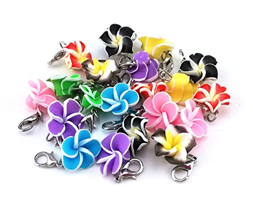 (yueton 20pcs Assorted Color Frangipani Flower Dangle Charms Pendant with Lobster Clasp Jewelry Making Accessory Fit Floating Locket Charms Necklaces)