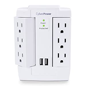 CyberPower CSP600WSURC2 Surge Protector, 1200J/125V, 6 Swivel Outlets, 2 USB Charging Ports, Wall Tap Design