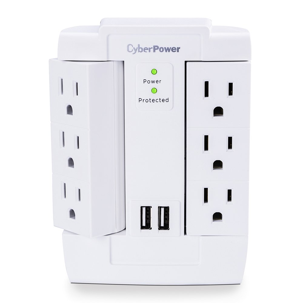 CyberPower CSP600WSURC2 Surge Protector, 1200J/125V, 6 Swivel Outlets, 2 USB Charging Ports, Wall Tap Design by CyberPower
