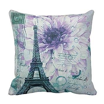Vintage Purple Floral Paris Eiffel Tower Throw Pillow Case