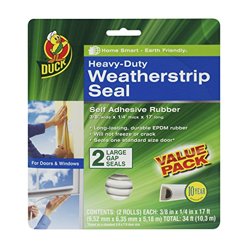 Duck Brand Heavy-Duty Self Adhesive Weatherstrip Seal for Large Gap, White, 3/8-Inch x 1/4-Inch x 17-Feet, 2 Seals, 282434 ()