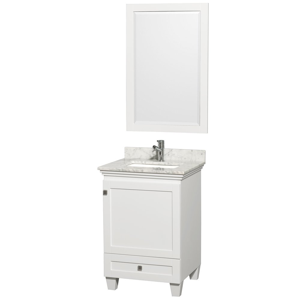 Undermount Square Sink White Carrera Marble Countertop and 24 inch Mirror Wyndham Collection Acclaim 30 inch Single Bathroom Vanity in Espresso