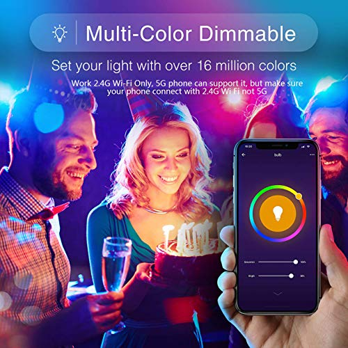 Boxlood Smart WiFi Light Bulbs, Works with Alexa, Google Home Compatible, 9W 900lm(80W Equivalent), No Hub Required, 2.4G WiFi Only, Dimmable, RGBCW Color Changing, 2700K-6500K, A19 E26 Base, 4Pack