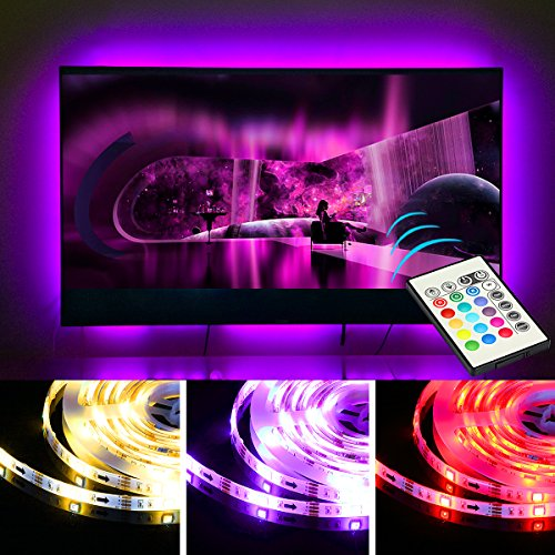 FRONTEC TV Bias Lighting USB Powered LED Light Strip for 65 70 Inches TV Back Decor 20 color options Dimmable Remote by FRONTEC
