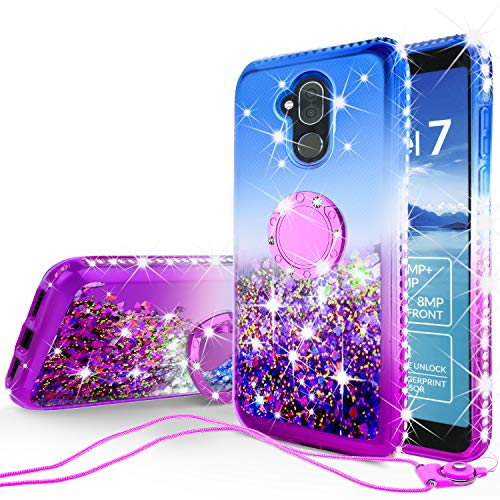 SOGA Rhinestone Liquid Quicksand Cover Cute Girl Phone Case Compatible for Alcatel 7 2018/Alcatel 7 Folio/T-Mobile Revvl 2 Plus Case,with Embedded Metal Ring for Magnetic Car Mounts and Lanyard Blue