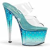 (US) Pleaser STARDUST-702T Women's Rhinestones Studded Platform Heel Slide Sandal, Color:CLEAR/TEAL-CLEAR, Size:7