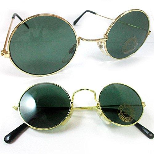 John Lennon Sunglasses Round Shades Wire Frame Colored Lenses Metal Retro - Glasses Green John