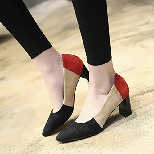 Heel Suede Dress Pumps Shoe colorful Loafer Pointed Block Loafers Womens Slip Toe GIY On Fashion Classic Black AvqIwUTR