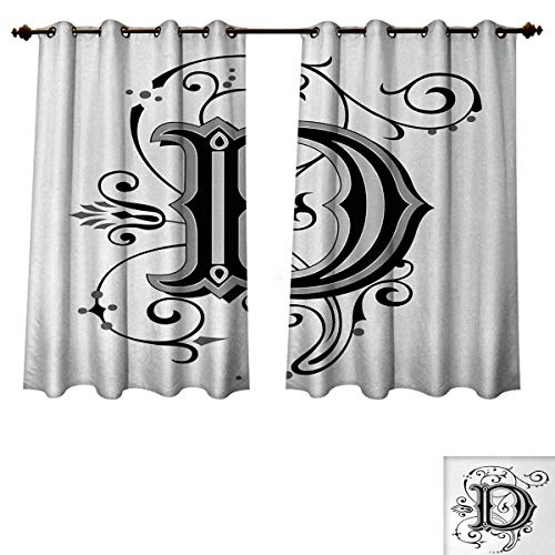 (Anzhouqux Letter D Blackout Thermal Curtain Panel Initial Letter from Medieval Scrolls Capital D Symbol Medieval Design Print Window Curtain Fabric Black Grey White W55 x L72)
