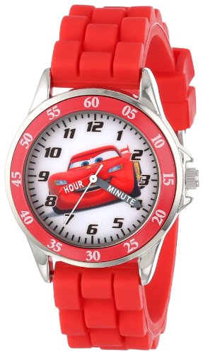 Cars Kids' Analog Watch with Silver-Tone Casing, Red Bezel, Red Strap - Official Cars Lightning McQueen Character on the Dial, Time-Teacher Watch, Safe for Children - Model: (Silver Tone Analog)