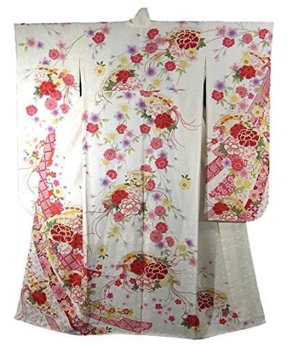 リサイクル 着物 振袖 束ね熨斗に四季花 正絹 袷 裄68.5cm 身丈170cm