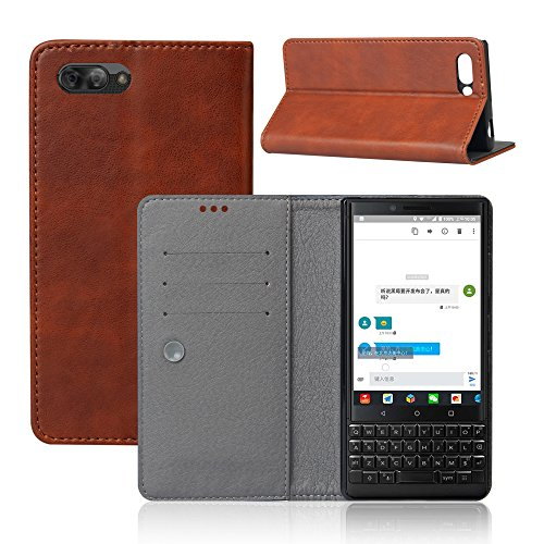BlackBerry KEY2 Case, [Pocket] PU Leather Wallet Shockproof Protective Bookstyle Case with Credit Cards Slot and Magnetic Closure Brown