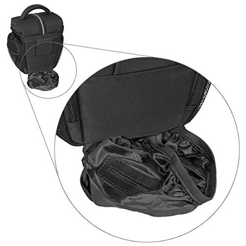 PEDEA Essex SLR-Kameratasche mit Regenschutz/Tragegurt und Zubehörfächer (Größe: L) schwarz/grau