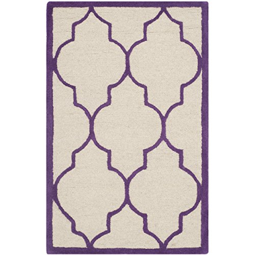 Safavieh Cambridge Collection CAM134V Handcrafted Moroccan Geometric Ivory and Purple Premium Wool Area Rug (3' x 5')