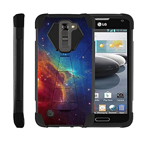 TurtleArmor   LG K8 Case   LG Escape 3 Case   LG Phoenix 2 Case [Dynamic Shell] Hybrid Dual Layer Hard Shell Kickstand Silicone Case - Colorful Nebula (Lg Dynamic 2 Phone Case Camo)