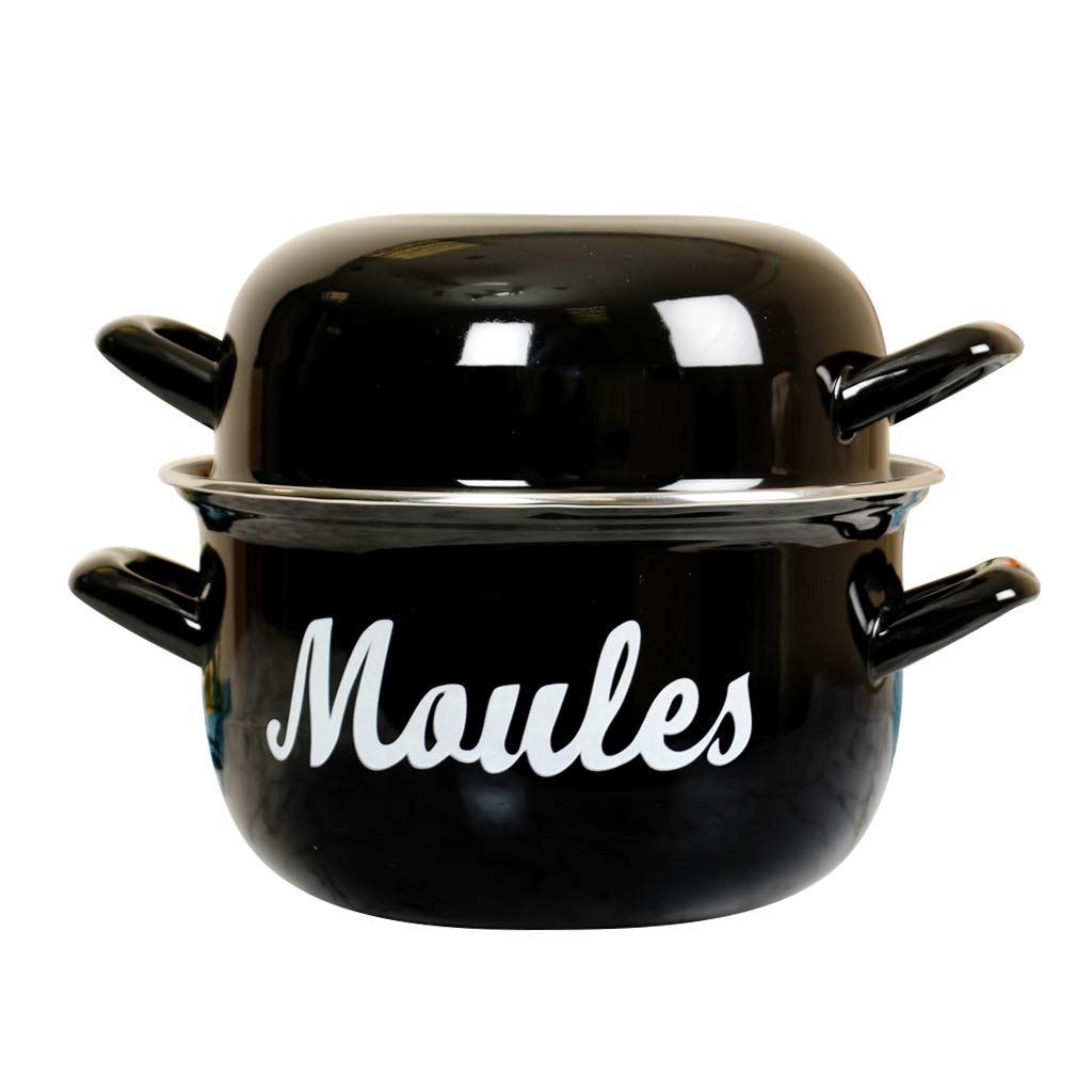 Enamel Mussel Pot (W30cm x H19cm) - Perfect for Seafood, Alfresco Dining, Outdoor Dining, Dinner Parties, barbecues, Dinners, Seafood Meals. Elegant Black Enamel with French Script. Dibor