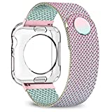 jwacct Compatible for Apple Watch Band with Screen Protector 38mm 40mm 42mm 44mm, Soft TPU Frame Case Cover Bumper Compatible for iwatch Series 1/2/3/4/5 Iridescent