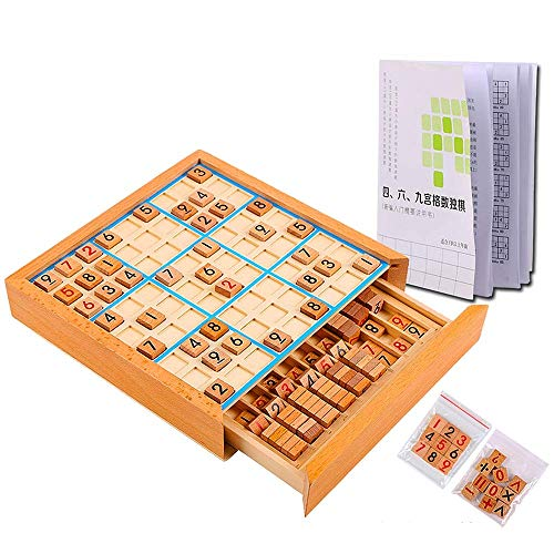 CAI-1 Wooden Sudoku Puzzle Game, Educational Toy Box with Drawer Number Cube Tiles, Board Games for Teenagers,Yellow(420 Questions)