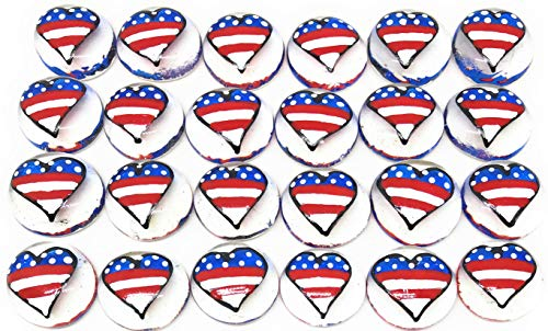 Hearts - (American Flag) - Set of 24 Original Hand Painted Glass Gems by Lauri; Party Supplies, Party Favor, Decoration, Token, Memoir, etc.let Your Imagination Run Wild!