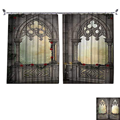 - Decorative Curtains has Hook Vintage Ottoman Palace Balcy for Sultans with Red Rose Flowers Ivy Terrace Machine Washable for Easy Care,W72 xL63